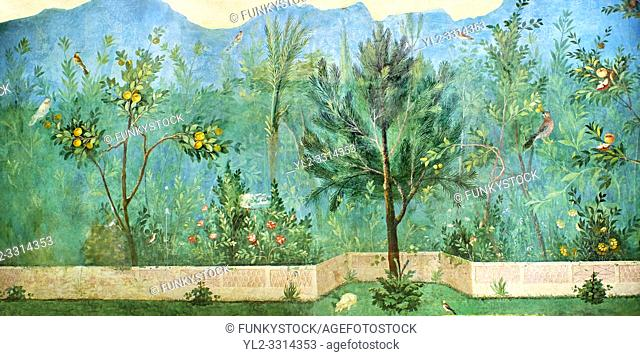 Painted Domestic Pine in the Roman fresco of a garden from Villa Livia (Early first century AD), Rome, Livia was the wife of Roman emperor Augustus