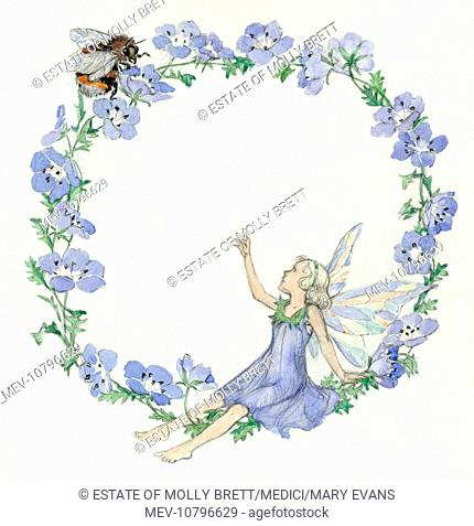 'Flower Circle' - blue flowers with fairy and bee
