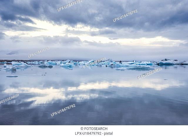Icebergs at Jokulsarlon lagoon sunrise, Iceland