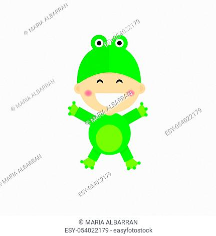 Isolated boy dressed as a frog. Vector illustration