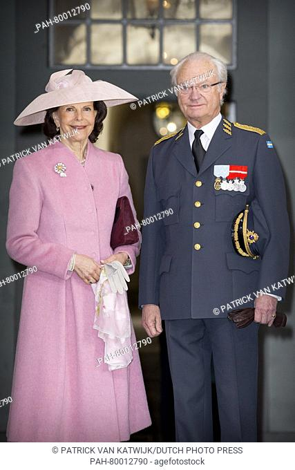 King Carl Gustaf and Queen Silvia of Sweden attend the Te Deum mass at the royal chapel of the Royal Palace in Stockholm, Sweden, 30 April 2016