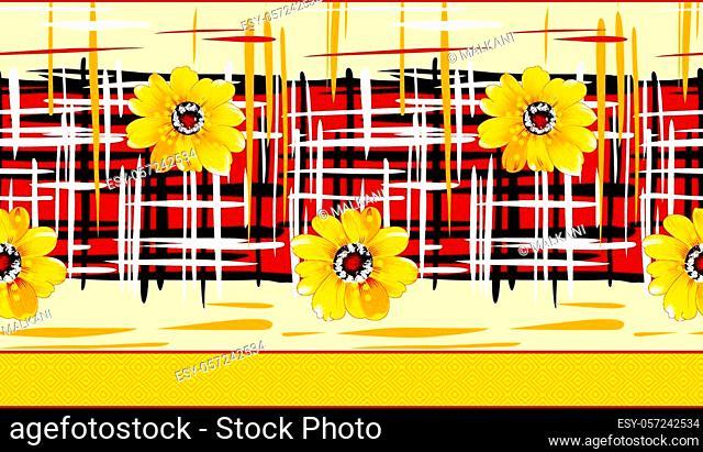 Seamless sun floral textile design border
