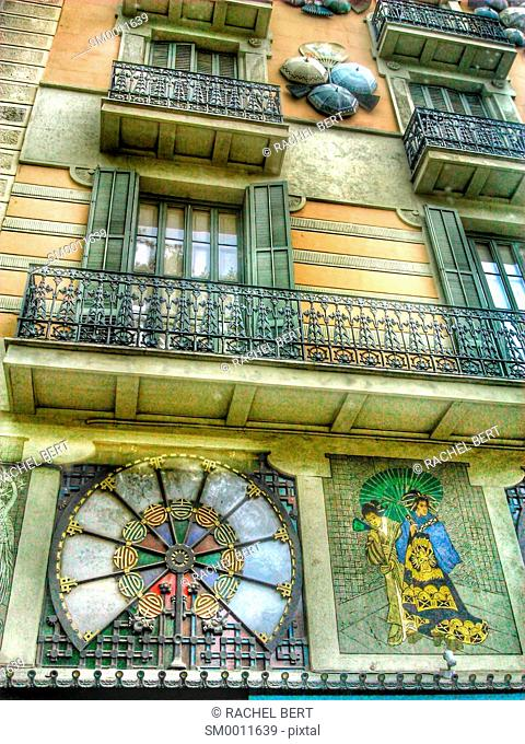 Art nouveau decorations on Casa Bruno, La Rambla, Barcelona