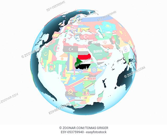 Sudan on bright political globe with embedded flag. 3D illustration isolated on white background