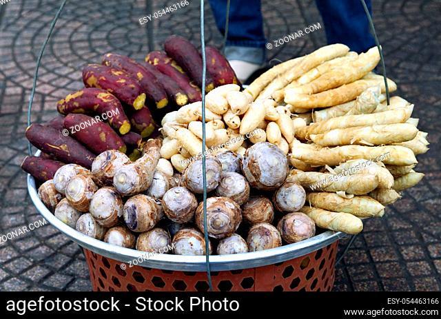 Fruit basket of a street vendor in Vietnam