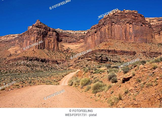 USA, Utah, Canyonlands National Park, Empty sand track and rock formation
