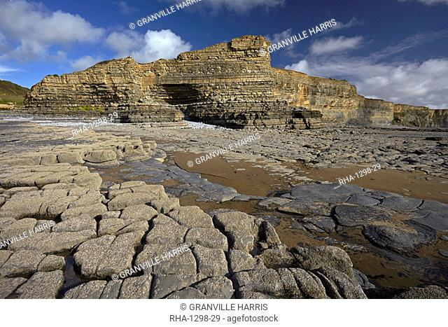 The exposed eroded cliffs and varied geology of the Glamorgan Heritage Coast, Monknash, South Wales, United Kingdom, Europe