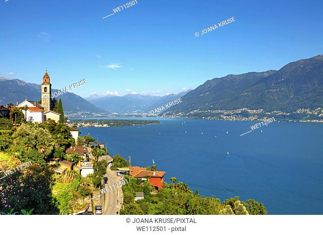 View of the Church of Ronco sopra Ascona to Ascona and Locarno and the mountains of Graubünden