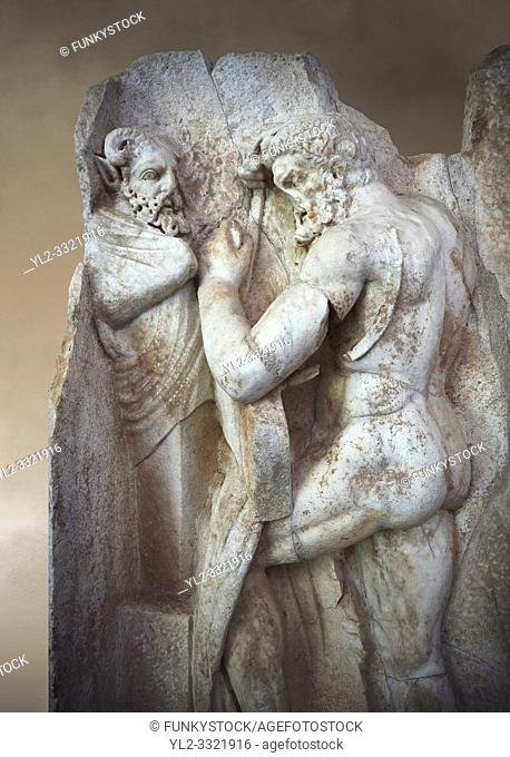Close up of a RomanSebasteion relief sculpture of Herakles is preparing to wrestle the Libyan giant Antaios. Aphrodisias Museum, Aphrodisias, Turkey