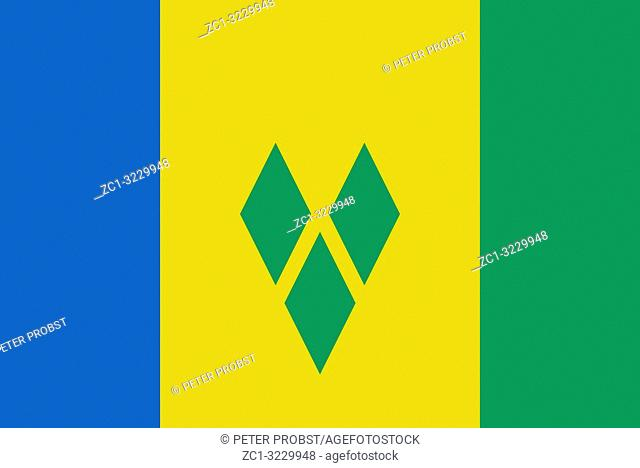 Flag of the Caribbean island state Saint Vincent and the Grenadines