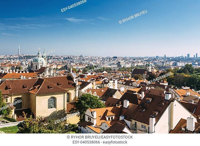 Prague cityscape, Czech Republic. Sunny blue clear sky