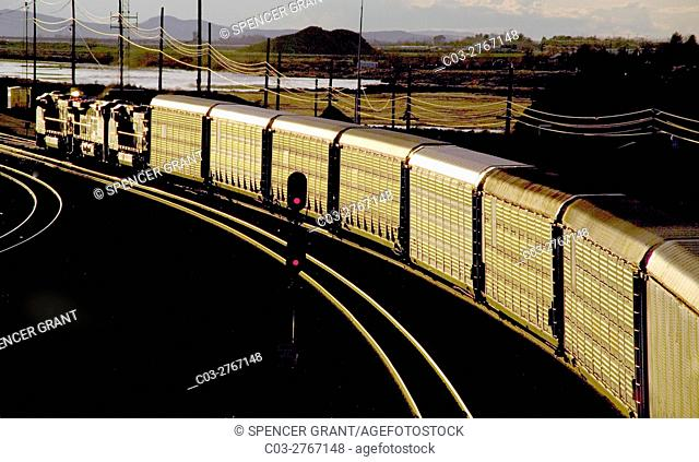 Afternoon sun shines on a freight train carrying livestock on a curve in Barstow, CA. Note red signal in center