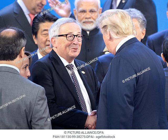 30 November 2018, Argentina, Buenos Aires: Jean-Claude Juncker, President of the European Commission, will be welcomed by Donald Trump
