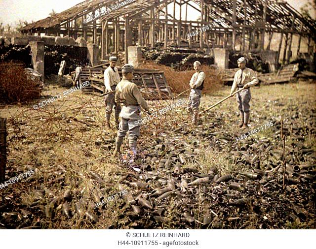 War, Europe, world war I, 1917, Europe, world war, color photo, Autochrome, F. Cuville, western front, department Aisne, France, factory, ruins, soldier