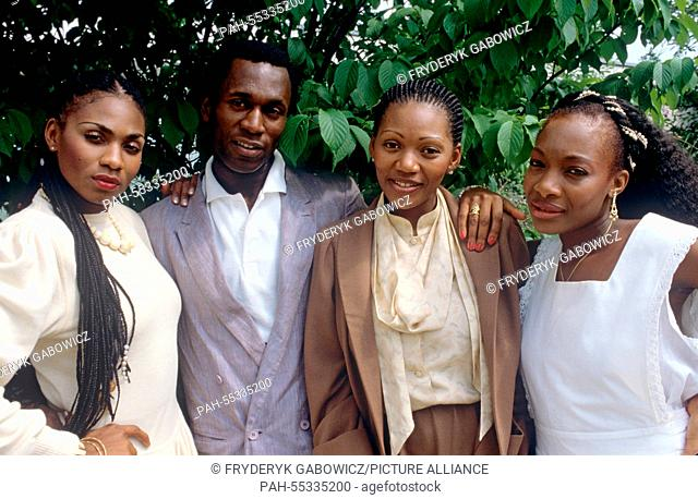 Boney M (l-r. Marcia Barrett, Bobby Farrell, Liz Mitchell, Maizie Williams) on 28.06.1982.   usage worldwide. - /Germany