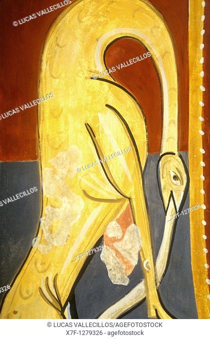 Detail of Paintings in Sant Joan church Romanesque church Boí Boí valley Lleida province  Catalonia  Spain