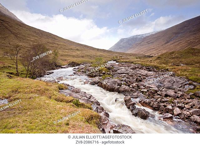 The River Etive flowing through Glen Etive in Scotland
