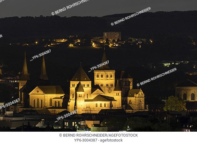 Cathedral of Trier and Church of Our Lady at night, Trier, Rhineland-Palatinate, Germany