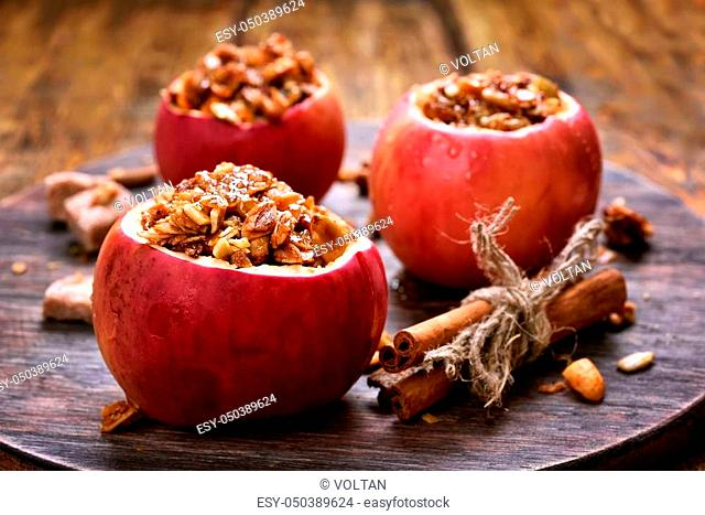 Fruit dessert baked apples stuffed with granola