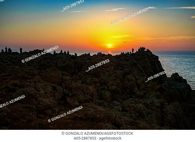 Sunset from Punta Nati Lighthouse. Ciutadella de Menorca Municipality. Minorca Island. Balearic Islands. Spain