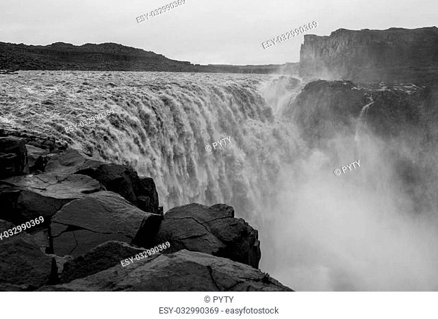 Detifoss, the most powerful waterfall in Europe, Vatnajokull National Park, Northern Iceland, black and white image