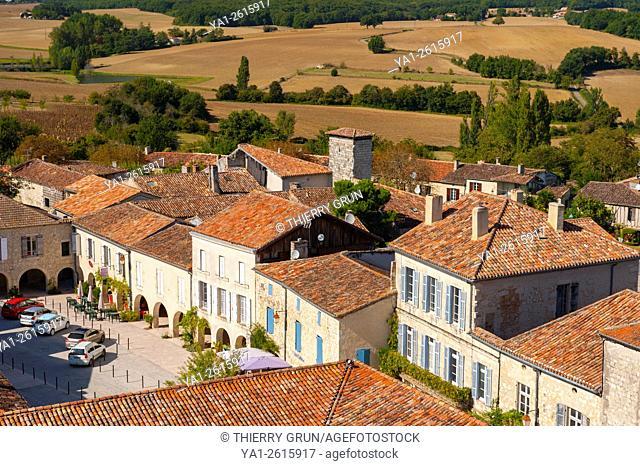 France, Gers (32), village of La Romieu on the way of Saint Jacques de Compostelle, place Bouet