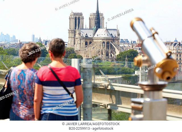 Notre Dame Cathedral. View from Arab World Institute. Paris. France