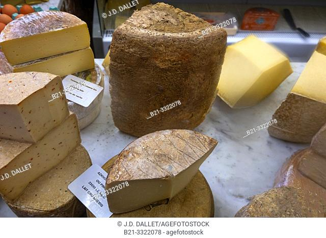 """France, Auvergne, Cantal, in a """"Cremerie"""" (Milk products shop) at Aurillac, differents types of """"Cantal"""" and """"Salers"""" cheeses."""