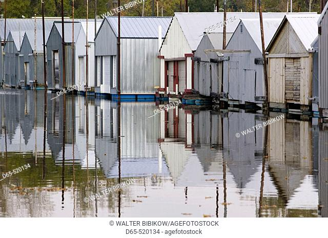 Mississippi River Valley. Boathouses. Bay Point Park. Red Wing. Minnesota. USA
