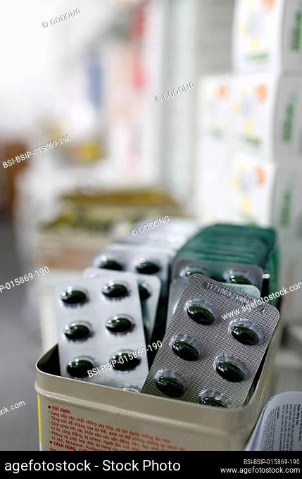 Hospital pharmacy. Drugs blister packs. Ho Chi Minh City. Vietnam