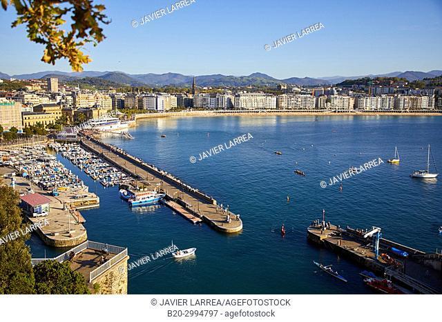 Port, La Concha bay, Donostia, San Sebastian, Gipuzkoa, Basque Country, Spain, Europe