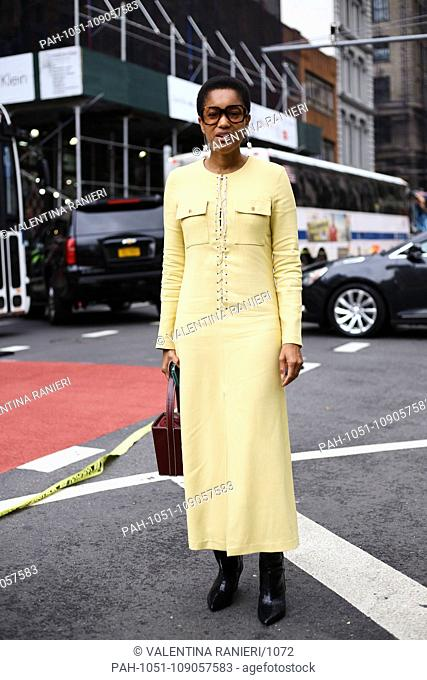 Tamu McPherson posing on the street outside of the Maryam Nassir show during New York Fashion Week - Sept 12, 2018 - Photo: Runway Manhattan ***For Editorial...