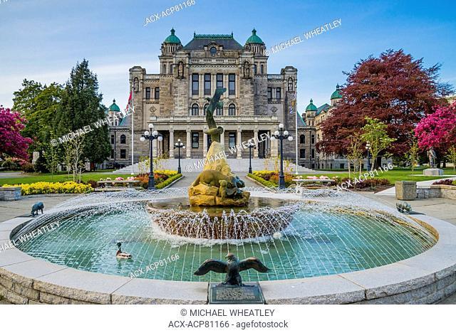 Fountain behind the British Columbia Legislature, Victoria, British Columbia, Canada