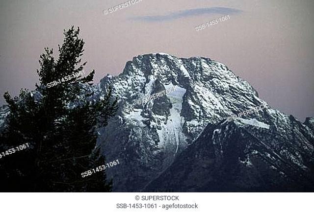 Low angle view of a mountain peak, Mt Moran, Teton Range, Grand Teton National Park, Wyoming, USA