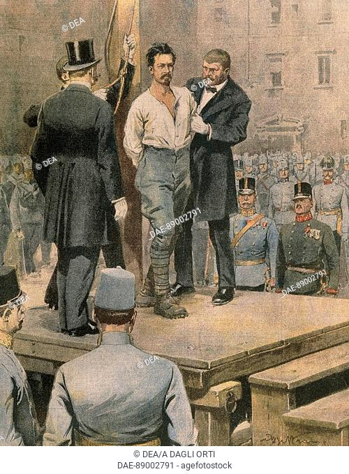 Execution of Cesare Battisti in Trento. Illustrator Achille Beltrame (1871-1945), from La Domenica del Corriere, July 1916