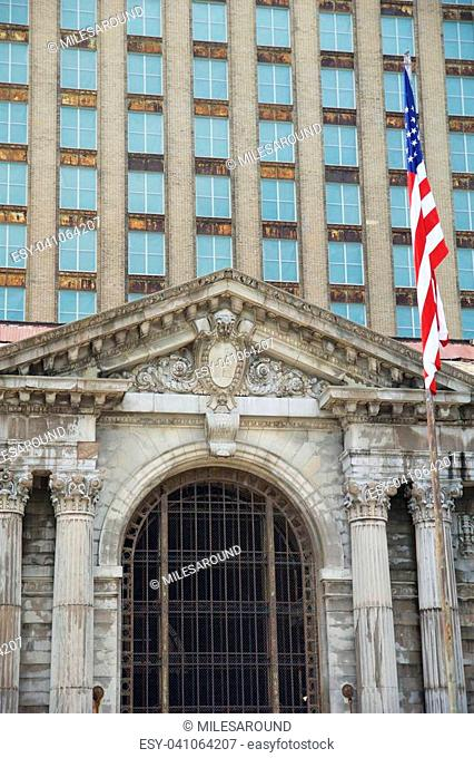 DETROIT, MICHIGAN, UNITED STATES - MAY 5th 2018: A view of the old Michigan Central Station building in Detroit which served as a major railway depot from 1914...