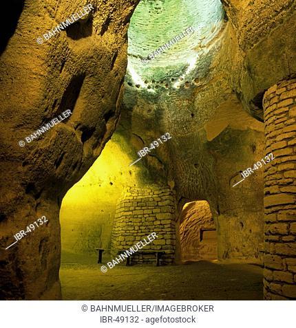 Rochemenier Departement Maine Loire France cave dwelling dug in shelly limestone underground church now museum