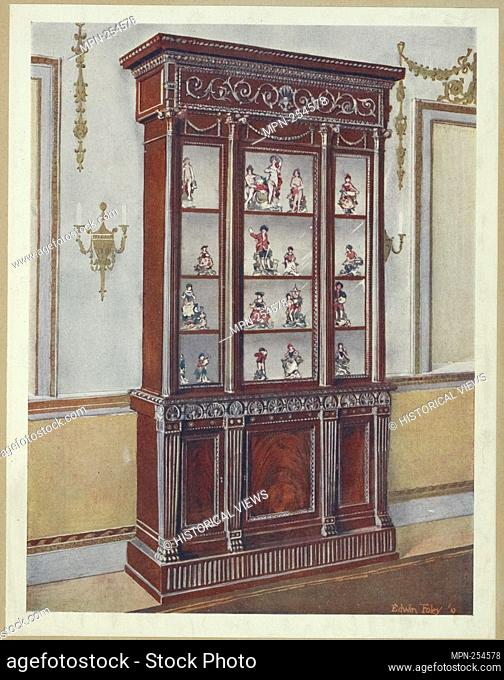 Carved mahogany China cases. Adam influence. Property of Sir Faudel Phillips, ca. 1765. Foley, Edwin, d. 1912 (Author) Foley, Edwin, d