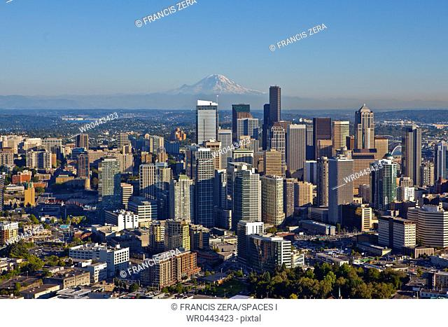 Downtown Seattle And Mt. Rainier