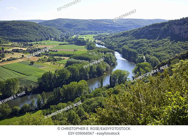 Europe, France, Quercy, Lot, view of the rural Lot Valley near St Martin Labouvel