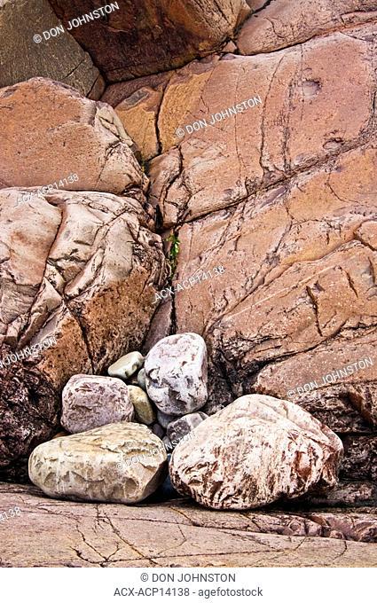 Georgian Bay shoreline boulders and weathered precambrian granite. Killarney, Ontario, Canada