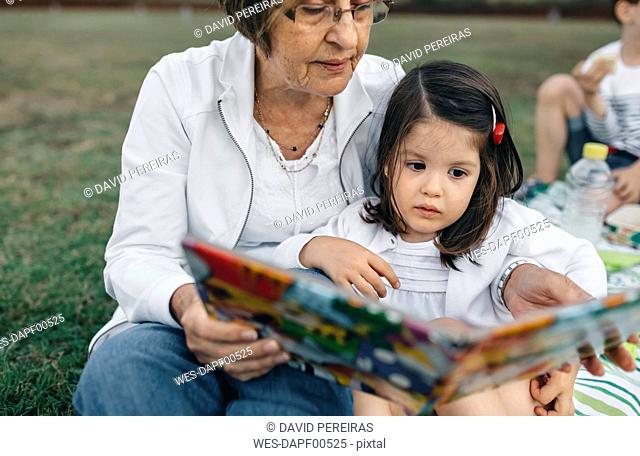 Grandmother showing picture book to granddaughter on meadow