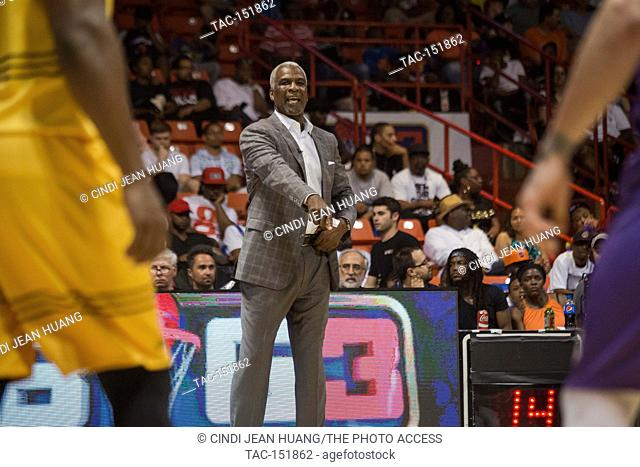 Head coach Charles Oakley of the Killer 3s points from the sidelines yelling instructions during Game #4 against the Ghost Ballers at Big3 Week 5 3-on-3...