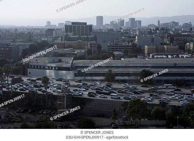Buildings and Highway Traffic, Los Angeles, California, USA