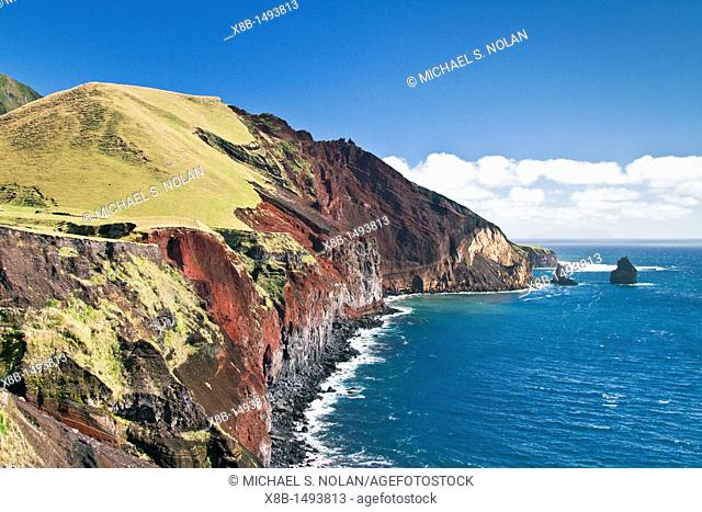 View of the volcanic shoreline on Tristan da Cunha, 'the most remote inhabited location on Earth', South Atlantic Ocean  MORE INFO The Tristan da Cunha Island...