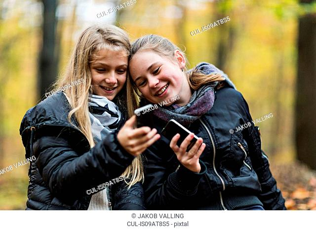 Girls using smartphone in autumn forest