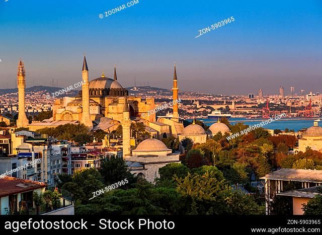 The Beautiful Hagia Sofia in Istanbul. One of most famous mosque, also marked as one of Asian 7th wonders located in Istanbul, Turkey