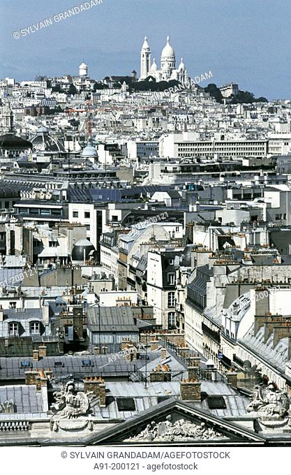 Overview on the city and Montmartre. Paris. France