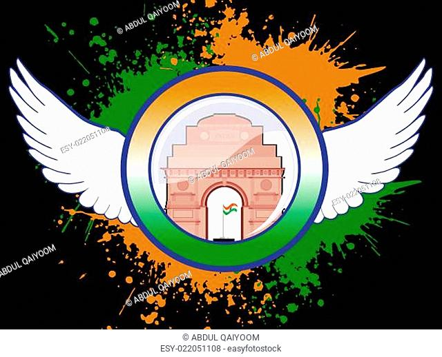 A sign of Indian emblem on colorful grunge with marble reflection. vector Illust