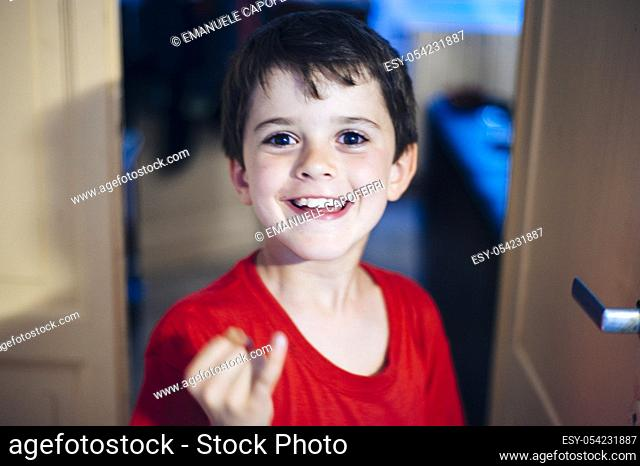 8 years old boy portrait. Italy